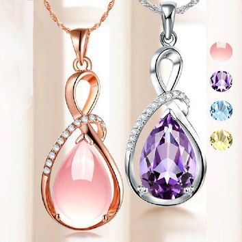 Fashion Pendants Necklaces For Women Jewelry Classic Platinum/Rose Gold Plated Crystal Rhinestone Water Drop Charm Pendant
