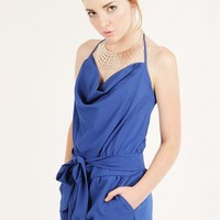BLUE COWL HALTER NECK ROMPER @ KiwiLook fashion
