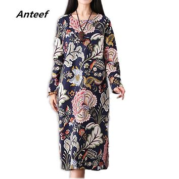 spring autumn style cotton linen vintage print plus size women casual loose long dress party vestidos femininas dresses 2017