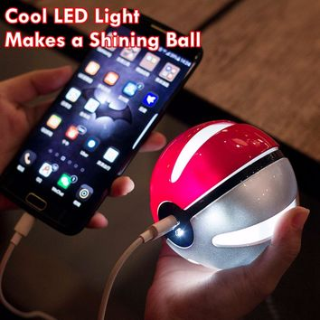 Pokeball Power Bank Charger 10000mah Custom Christom Gift Game Pokemons Go Plus Powerbank Mobile Poke ball Plush Toy Power Bank