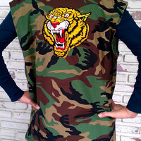 Vintage DIY Vest Cut Off Camouflage Army Jacket with Tiger Patch / Military Camo Vest Size: L