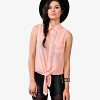 Sleeveless Chained Collar Shirt | FOREVER 21 - 2030187604