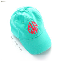 Monogrammed Baseball Hat - Sea Foam