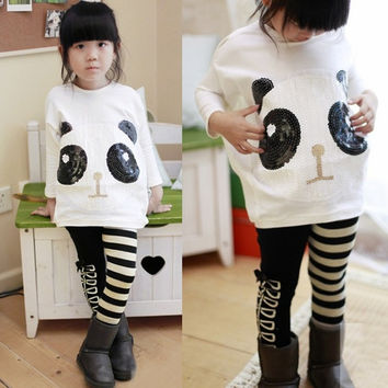 2-8Y Baby Girl Batwing T-Shirt Top+White Black Stripe Leggings Pants Panda Sets  wishagoodwish = 1946652612