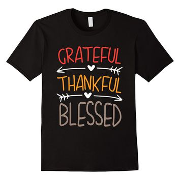 Grateful Thankful Blessed Thanksgiving T-Shirt Short Sleeve Tops Top Tee Tops Men Tee Shirts Top Tee Personality Funny
