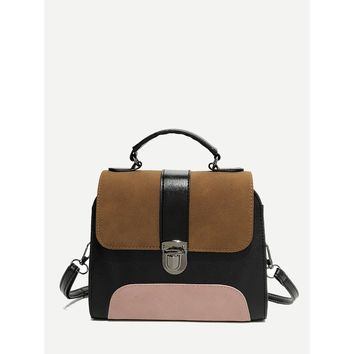 Colorblock Buckle Detail Shoulder Bag