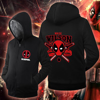 USA size Men Women Deadpool Wade Wilson Jacket Sweatshirts Thicken Hoodie Coat