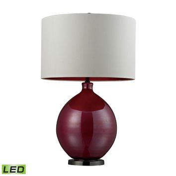 Blown Glass LED Table Lamp in Cerise Pink and Black Nickel Pink,Black Nickel