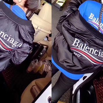 """Balenciaga"" Women Fashion Wave Stripe Letter Embroidery Long Sleeve Cotton Jacket Coat Baseball Clothes"