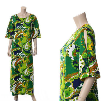Vintage Hawaiian Mod Floral Maxi Dress 60s 1960s 70s 1970s Acrylic Bark Tapa Cloth Polynesian Luau Hawaii Muumuu Dress Hippie Boho Caftan