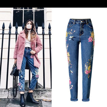 2017 Vintage Bird Flower Embroidery Jeans Woman American Apparel High Waist Jeans High Quality Casual Denim Pants Jeans Femme