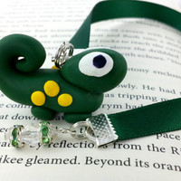Ribbon Bookmark, Little Lizard, Polymer Clay, Cute Lizard, Green bookmark, Decorative Bookmark, Christmas Gift, Book Thong, Book Worm