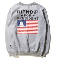 RIPNDIP The middle finger cats  Round collar Pullover Hedging Sweater long sleeve sports shirt flag print