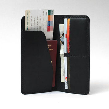 Leather Passport Cover / Passport Wallet / Personalized Passport Holder / Boarding Pass Case, Handmade Hand-stitched, Black