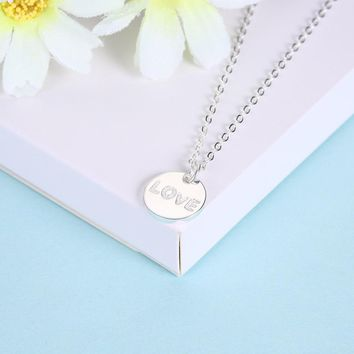 925 Sterling Silver Necklace Round Romantic LOVE Lettering Necklace Boutique Fashion Necklace