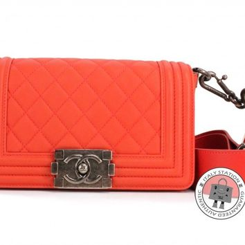 Auth New Chanel SMALL Boy Bag Orange Red Lambskin Bag anti silver hardware