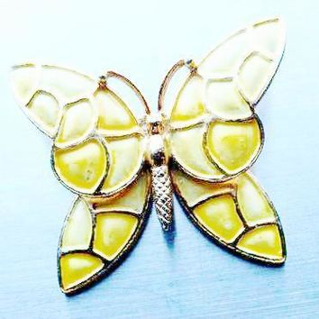 Hollycraft Pastel Yellow Enameled Pin Brooch Butterfly Bug marked stamped Design