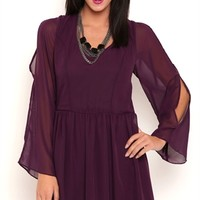 Chiffon A Line Dress with Long Bell Sleeves and Open Tie Back