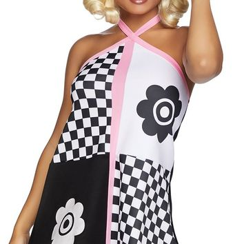 Go Go Sweetie Black White Pink Flower Checkerboard Pattern Sleeveless V Neck Halter Mini Shift Dress Halloween Costume