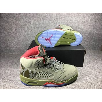 2017 Retro 5 CAMO Basketball Shoes Dark Stucco Fire Red Camouflage trophy Room 5S V Athletic Training Shoes With Box