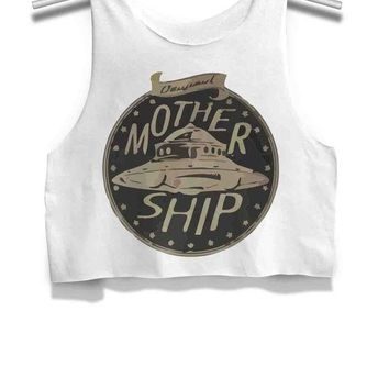 DCCKL83 Mother Ship Alien Womens Crop Tank Top