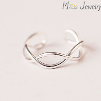 925 Sterling Silver Rings Oepn Cross Wave Ring For Girl Women