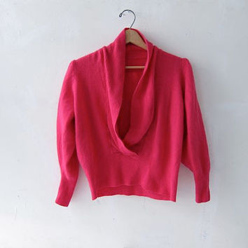 80s pink angora sweater. cropped sweater.