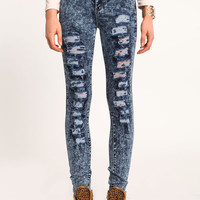 DISTRESSED HIGH WAIST ACID WASH JEANS