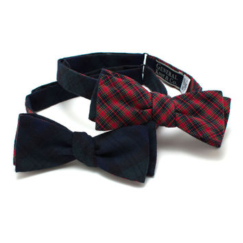 Black Watch & Red Mini Tartan Reversible Classic Bow