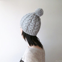 Hand Knitted Cable Chunky Beanie in Silver Grey - Beanie with Pom Pom - Seamless - Wool Blend - Winter Fall - Made to Order