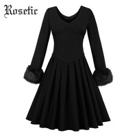 Gothic Vintage Dress Black Women casual Draped Retro Goth Dresses