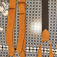 Absolutely FAB Pair of Vintage GUESS All Suede Leather Men's Braces Suspenders - Fully Adj with Brass Buckle Accents - Great Boyfriend Look