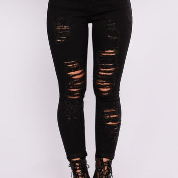 Cuffed Up Distressed Ankle Jeans - Black
