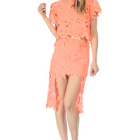 Neon Coral Sunflower Garden Crochet High Low Skirt
