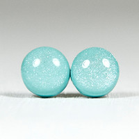 Tiffany Blue Shimmer Stud Earrings .. on Luulla