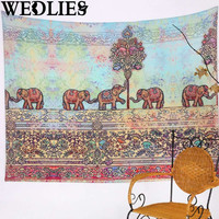 Elephant Mandala Wall Hanging Tapestry Bohemian Throw Blanket Bedspread Mat Dorm Cover Decor Home Textiles Accessories