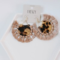 Mauve Tortoise Fringe Earrings