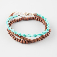 FULL TILT 3 Piece Twist/Wood/Suede Anklets | Bracelets