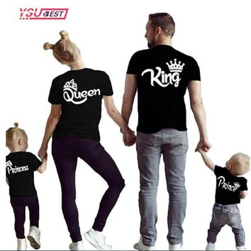 Cool New Matching Family Shirts Family Matching Clothes Matching Father Mother Daughter Son Clothes Cotton T-shirt King Queen ClothesAT_93_12