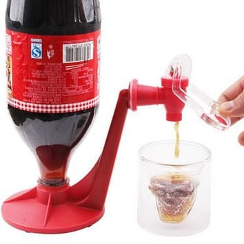 Upside Down Drinking Fountains Cola Beverage Switch Drinkers Hand Pressure Water Dispenser Automatic Gadget Dispense Faucet Red