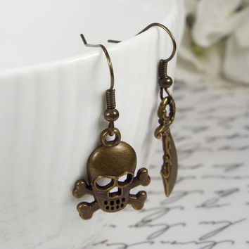 Pirate Sword & Skull and Crossbones Mismatched Earrings, Bronze