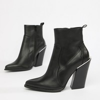 ASOS DESIGN Premium leather elka western ankle boots at asos.com