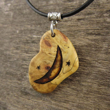 Crescent Moon Necklace, Earthy Jewelry Crescent Moon Pendant, Lunar Phase Jewelry, Carved Wood Pendant Leather Necklace