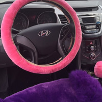 Pink fur steering wheel cover set 3 piece