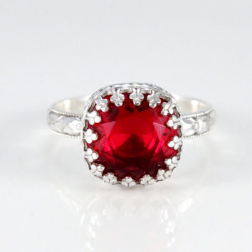 Red sterling silver ring, Swarovski ruby cushion cut crystal in a crown setting on a sterling silver floral band, vintage style, handmade
