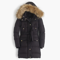 J.Crew Womens Tall Wintress Puffer Coat With Faux-Fur Hood