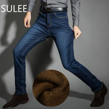 SULEE Brand Mens Winter Fleece Jeans Flannel Lined Stretch Denim Jeans Slim Fit Trousers Pants 33 34 35 36 38 40 42 Men's Jeans