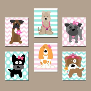 Girl DOG Nursery Wall Art, CANVAS or Prints Baby Girl Nursery Decor, Puppy Art, Girl Bedroom Decor, Dog Theme, Dog Pictures Set of 6 Decor