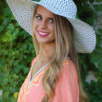 Just Beachin' Floppy Hat- White