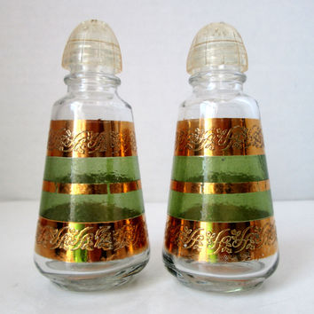 Vintage Anchor Hocking Starlyte Gold and Green Salt and Pepper Shakers